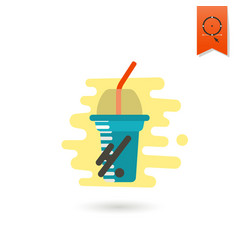 Disposable cup with lid and straw vector