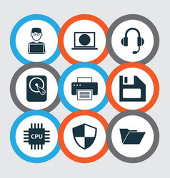 computer icons set collection of printing machine vector image