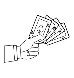 Hand holding poker cards gambler casino outline vector
