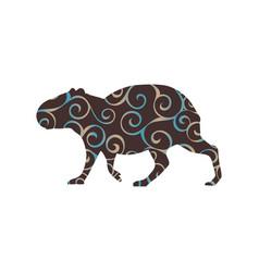 Capybara rodent mammal color silhouette animal vector