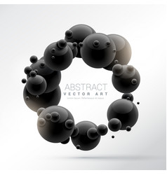 Black molecules frame background in 3d vector