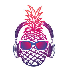 pineapple with sunglases and headphones summer vector image