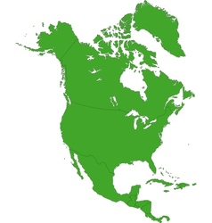 Green north america map vector