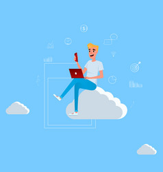 young man sitting on the cloud working vector image