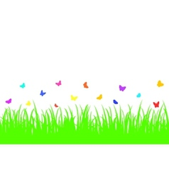 Colored butterfly on a seamless grass vector
