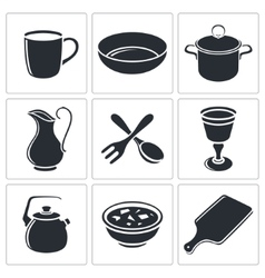 Tableware icon collection vector