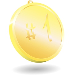 3d gold medal on white background vector image vector image