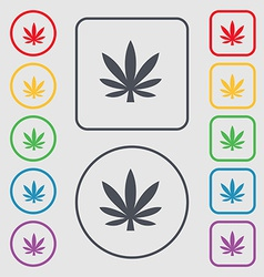 Cannabis leaf icon sign symbol on the round and vector