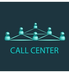 Call center emblem support logo design vector