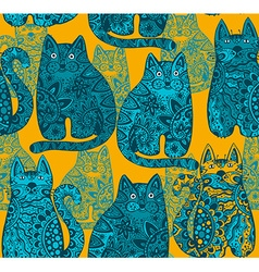 Seamless pattern with funny ornamental cats vector