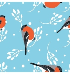 Bullfinch and berberry branch seamless pattern vector
