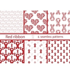 Set red ribbon seamless pattern vector