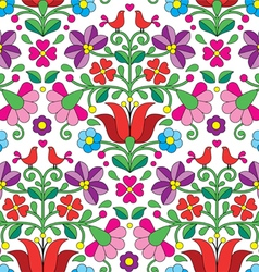 Kalocsai floral emrboidery seamless pattern vector image