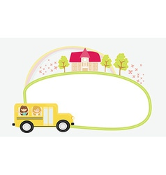 a school bus heading to school with happy children vector image vector image