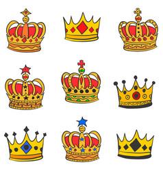 Art crown doodle set vector