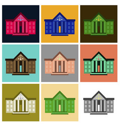 assembly of flat icons courthouse vector image