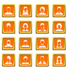 avatars set icons set orange vector image vector image