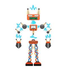 Big electric robot with detectors vector