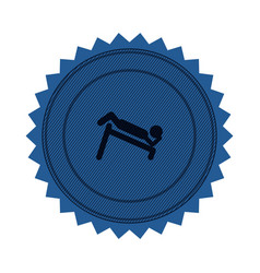 Blue circular seal with abdominal training on vector