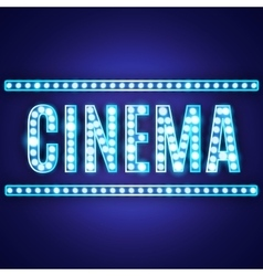 Blue neon lamp cinema sign vector image vector image