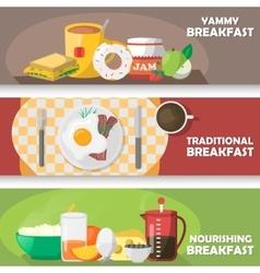 Breakfast Horizontal Banners Set vector image vector image