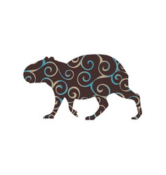 Capybara rodent mammal color silhouette animal vector