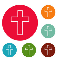 catholic cross icons circle set vector image