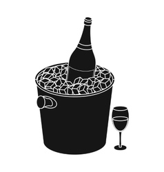 Champagne bottle in an ice bucket icon in black vector image