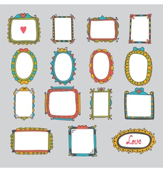 Collection of hand drawn cartoon frames Sketchy vector image