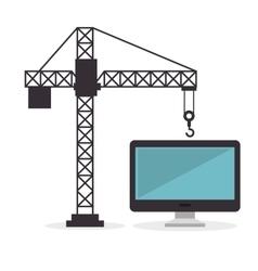 Construction crane hold computer screen vector