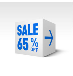 Cube banner template sixty-five percent off vector