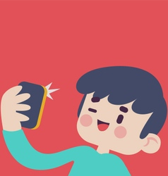 Cute Boy Taking a Selfie vector image