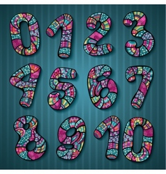 Decorative doodles numbers vector image