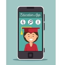 Education online girl graduation smartphone design vector