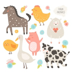 Farm animals collection vector