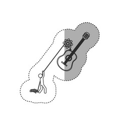 Figure people with pulleys hanging the guitar vector