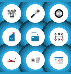 flat icon workshop set of lifting accumulator vector image