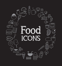 Food icons set infographic and on black vector