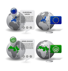 gray earth globes with designation of european vector image vector image