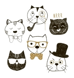 Hand drawn cats faces with different emotions vector image