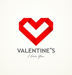 Happy valentine day origami paper heart vector