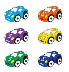 Kids cars cartoon set cars toys vector
