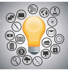 Light bulb and icon set design vector
