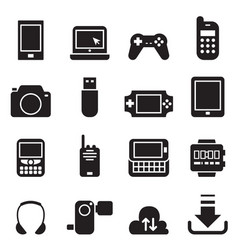 mobile device icons set vector image vector image