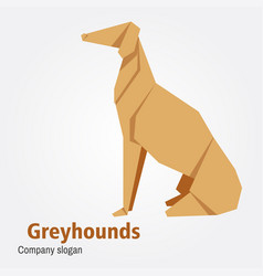origami dog breed greyhound vector image vector image