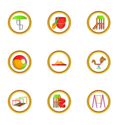 playground icon set cartoon style vector image vector image
