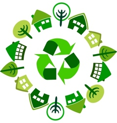 recycle circle of houses vector image vector image