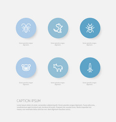 set of 6 editable zoo icons includes symbols such vector image vector image