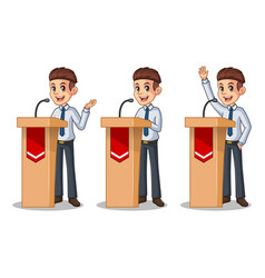 set of businessman in shirt giving a speech vector image vector image