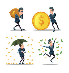 Successful businessman with money rain rich man vector